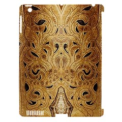 Golden Brown Tooled Faux Leather Look Apple Ipad 3/4 Hardshell Case (compatible With Smart Cover)