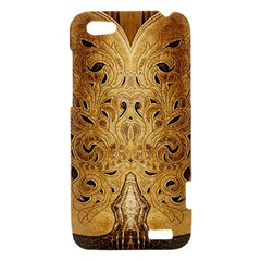 Golden Brown Tooled Faux Leather Look HTC One V Hardshell Case