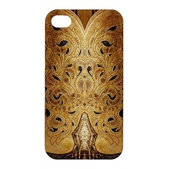 Golden Brown Tooled Faux Leather Look Apple iPhone 4/4S Premium Hardshell Case