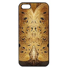 Golden Brown Tooled Faux Leather Look Apple iPhone 5 Seamless Case (Black)