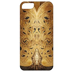 Golden Brown Tooled Faux Leather Look Apple iPhone 5 Classic Hardshell Case