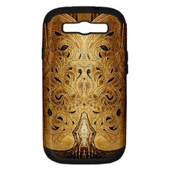 Golden Brown Tooled Faux Leather Look Samsung Galaxy S III Hardshell Case (PC+Silicone)