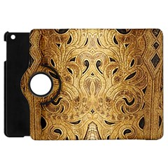 Golden Brown Tooled Faux Leather Look Apple iPad Mini Flip 360 Case