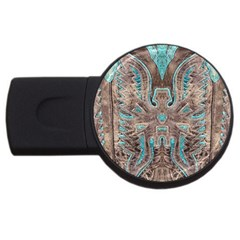 Turquoise and Gray Eagle Tooled Leather Look USB Flash Drive Round (4 GB)