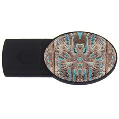 Turquoise And Gray Eagle Tooled Leather Look Usb Flash Drive Oval (4 Gb)