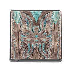 Turquoise and Gray Eagle Tooled Leather Look Memory Card Reader with Storage (Square)