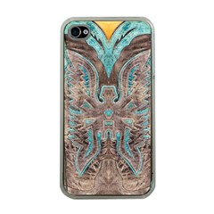Turquoise and Gray Eagle Tooled Leather Look Apple iPhone 4 Case (Clear)