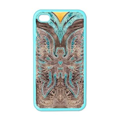 Turquoise and Gray Eagle Tooled Leather Look Apple iPhone 4 Case (Color)