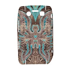 Turquoise and Gray Eagle Tooled Leather Look BlackBerry Bold 9700 Hardshell Case