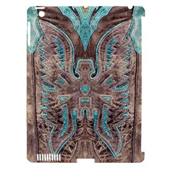 Turquoise and Gray Eagle Tooled Leather Look Apple iPad 3/4 Hardshell Case (Compatible with Smart Cover)
