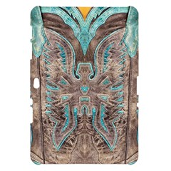 Turquoise and Gray Eagle Tooled Leather Look Samsung Galaxy Tab 10.1  P7500 Hardshell Case