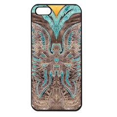 Turquoise And Gray Eagle Tooled Leather Look Apple Iphone 5 Seamless Case (black)