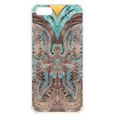 Turquoise and Gray Eagle Tooled Leather Look Apple iPhone 5 Seamless Case (White)