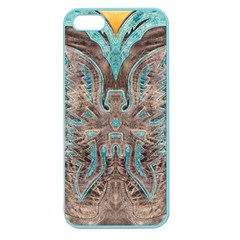Turquoise and Gray Eagle Tooled Leather Look Apple Seamless iPhone 5 Case (Color)