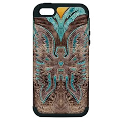 Turquoise and Gray Eagle Tooled Leather Look Apple iPhone 5 Hardshell Case (PC+Silicone)