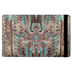 Turquoise and Gray Eagle Tooled Leather Look Apple iPad 3/4 Flip Case