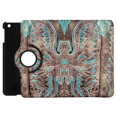 Turquoise And Gray Eagle Tooled Leather Look Apple Ipad Mini Flip 360 Case