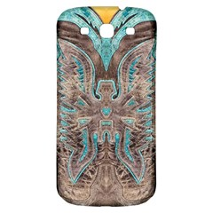 Turquoise and Gray Eagle Tooled Leather Look Samsung Galaxy S3 S III Classic Hardshell Back Case