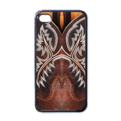 Brown and Black Tooled Leather Design Look Apple iPhone 4 Case (Black)