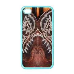Brown and Black Tooled Leather Design Look Apple iPhone 4 Case (Color)