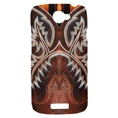 Brown and Black Tooled Leather Design Look HTC One S Hardshell Case
