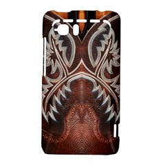Brown and Black Tooled Leather Design Look HTC Vivid / Raider 4G Hardshell Case