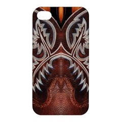 Brown And Black Tooled Leather Design Look Apple Iphone 4/4s Premium Hardshell Case