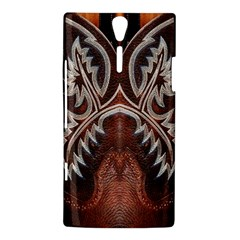 Brown and Black Tooled Leather Design Look Sony Ericsson Xperia S Hardshell Case