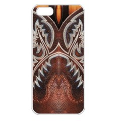 Brown and Black Tooled Leather Design Look Apple iPhone 5 Seamless Case (White)