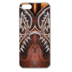 Brown And Black Tooled Leather Design Look Apple Seamless Iphone 5 Case (clear)