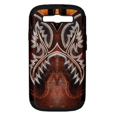 Brown and Black Tooled Leather Design Look Samsung Galaxy S III Hardshell Case (PC+Silicone)