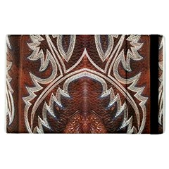 Brown and Black Tooled Leather Design Look Apple iPad 3/4 Flip Case
