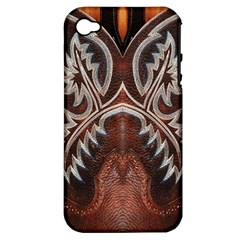 Brown and Black Tooled Leather Design Look Apple iPhone 4/4S Hardshell Case (PC+Silicone)