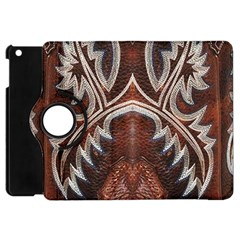 Brown and Black Tooled Leather Design Look Apple iPad Mini Flip 360 Case