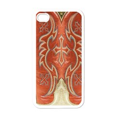 Orange And Cross Design On Leather Look Apple Iphone 4 Case (white)