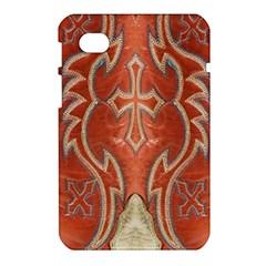 Orange and Cross Design on Leather Look Samsung Galaxy Tab 7  P1000 Hardshell Case