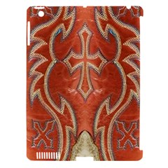 Orange And Cross Design On Leather Look Apple Ipad 3/4 Hardshell Case (compatible With Smart Cover)