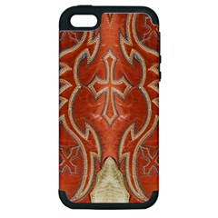 Orange and Cross Design on Leather Look Apple iPhone 5 Hardshell Case (PC+Silicone)
