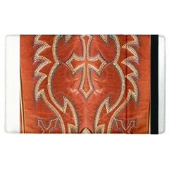 Orange and Cross Design on Leather Look Apple iPad 3/4 Flip Case