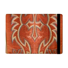 Orange And Cross Design On Leather Look Apple Ipad Mini Flip Case
