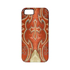 Orange and Cross Design on Leather Look Apple iPhone 5 Classic Hardshell Case (PC+Silicone)