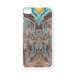Turquoise And Gray Western Leather Look White Apple Iphone 4 Case