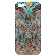 Turquoise and Gray Western Leather Look Apple iPhone 5 Hardshell Case