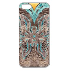 Turquoise and Gray Western Leather Look Apple Seamless iPhone 5 Case (Clear)