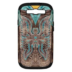 Turquoise and Gray Western Leather Look Samsung Galaxy S III Hardshell Case (PC+Silicone)