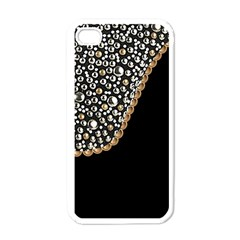 Black Leather Look W/silver Studs White Apple Iphone 4 Case