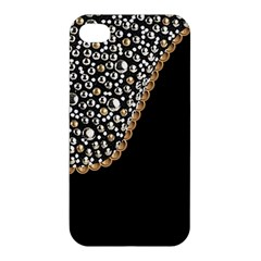 Black Leather Look w/Silver Studs Apple iPhone 4/4S Premium Hardshell Case