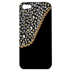 Black Leather Look W/silver Studs Apple Iphone 5 Hardshell Case