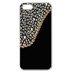 Black Leather Look w/Silver Studs Apple Seamless iPhone 5 Case (Clear)