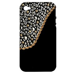 Black Leather Look w/Silver Studs Apple iPhone 4/4S Hardshell Case (PC+Silicone)